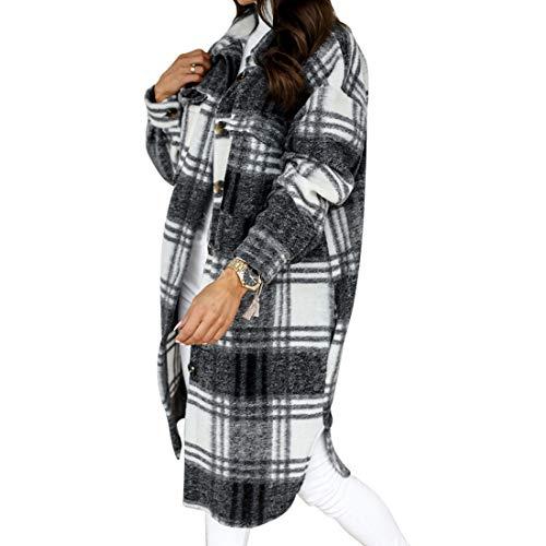 MUYOGRT Chaqueta a cuadros para mujer, blusa con bolsillos, blusa, camisa de ocio, botones, camisa de manga larga, blusa, abrigo, chaqueta larga, chaqueta de leñador, moda boyfriend N.º 3 M