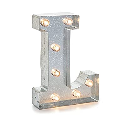 Darice 5915-713 Silver Metal Marquee Letter 9.875 -L