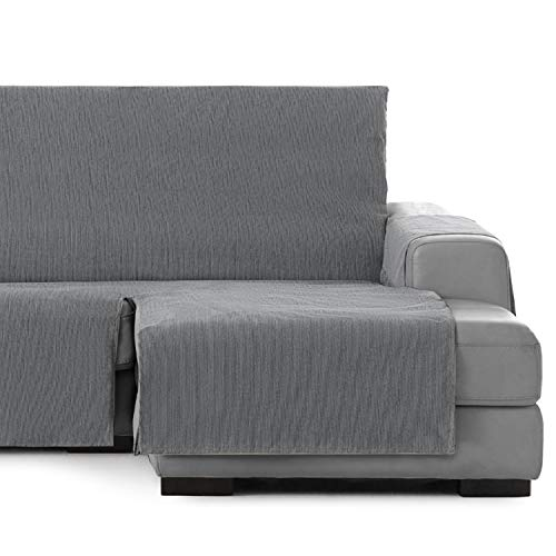 Vipalia Cubre Sofa chaiselongue Ajustable. Funda de Sofa Chaise Longue Brazo Derecho Largo. Protector Antimanchas Chenilla. Color Gris. Chaise Largo Derecha