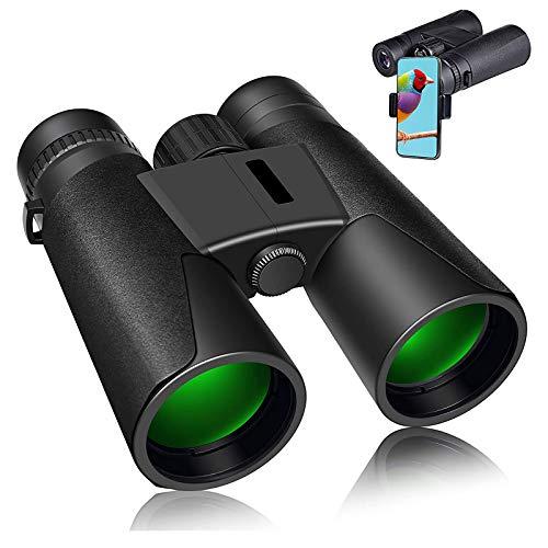 Binoculares profesionales 12x42 para observación de aves con binoculares compactos, claros y fáciles de enfocar para adultos para observación de aves y viajes con adaptador para teléfono y bolsa