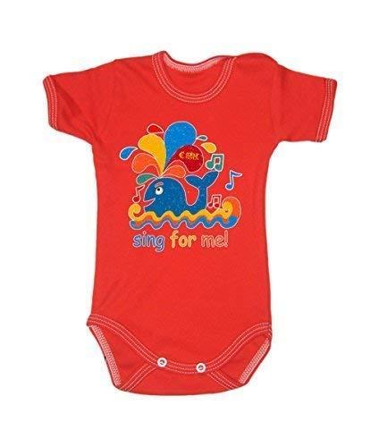Colour Fashion Drôle Baleine Sing pour Me Garçon Fille Unisexe Combinaison Manche Courte 100% Cotton Petit Bébé - 24 Mois 0029 - Rouge, Tiny Baby, 52 cm