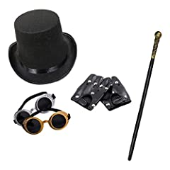 Unisex Steampunk Fancy Dress Set (Top Hat, Goggles, Cane & Short Black Gloves) #1