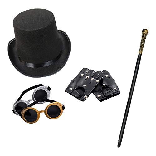 Robelli Unisex Steampunk Modisches Kostüm-Set (Zylinder, Schutzbrille, Gehstock & Kurz Schwarz Handschuhe)