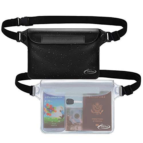AiRunTech Waterproof Pouch with Waist Strap (2 Pack) | Beach Accessories Best Way to Keep Your Phone and Valuables Safe and Dry | Perfect for Boating Swimming Snorkeling Kayaking Beach Pool Water Park
