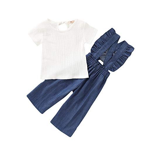 Karuedoo Little Girls Denim Floral Print Sleeveless Skirt Dresses