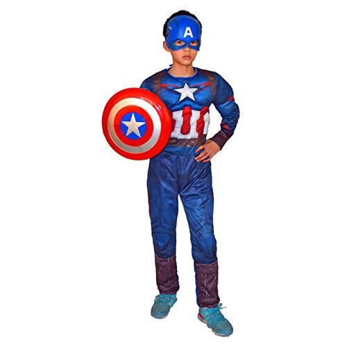 Traje De Mono De Estilo Muscular para Nios Traje De Superhroe Clsico para Nios Mono De Cosplay Accesorios De Ropa,Captain America- 120~130cm