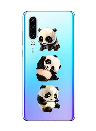 Oihxse Silicone Crystal Coque pour Huawei Nova 3 Ultra-Thin Transparente Gel TPU Souple Etui Design Motif Mignon Panda Protection Antichoc Housse Bumper (Panda A10)