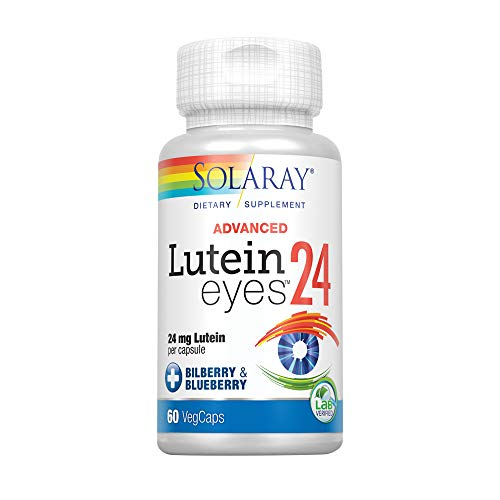 Solaray Advanced Lutein Eyes, 24mg | Eye & Macular Health Support Supplement w/Naturally Occurring Lutein and Zeaxanthin | Non-GMO | Vegan | 60 Count