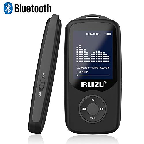 RUIZU X06 Mp3 Player with Bluetooth, Mp3 Music Player with FM Radio, 100hrs Playback, and 128GB Expandable, Black