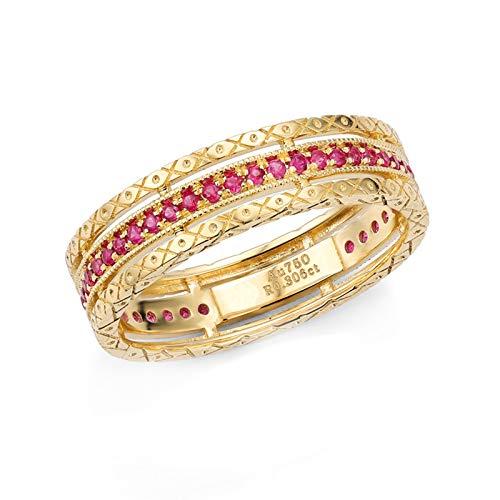 Daesar Anello Oro Giallo 18K Anelli Promessa di Matrimonio 0.18ct Anello Vuoto Rubino Rosso Rotonda Anello Donna Misura 23,5