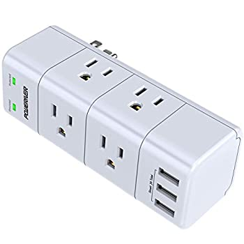 Surge Protector Wall Mount  Outlet Splitter with Rotating Plug POWERIVER Power Strip with 6 Outlet Extender  3 Side  and 3 USB Ports 1680 Joules for Home/School/Office/Travel White