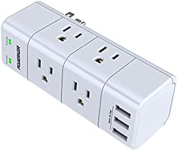 Surge Protector Wall Mount , Outlet Splitter with Rotating Plug, POWERIVER Power Strip with 6 Outlet Extender (3 Side) and 3 USB Ports, 1680 Joules, for Home/School/Office/Travel, White