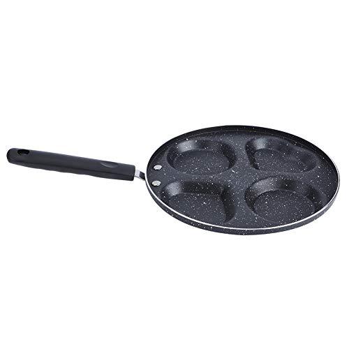 Ong Sartén para el Desayuno, multifunción con Cuatro Orificios, Mini sartén para Grill Sartén para Crepes Sartén Antiadherente Utensilios de Cocina 24,5 cm