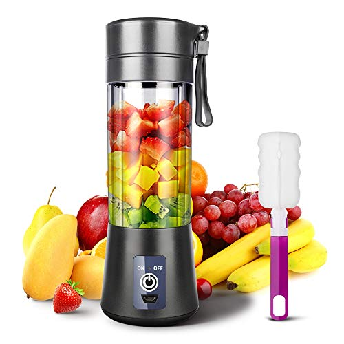 Portable Blender, Ksera Smoothie Juicer Cup, Personal Mini Blender for Smoothies and Shakes- Six Blades in 3D, 380ml, 13oz 2000mAh Powerful USB Rechargeable Home Travel Handheld Fruit Juicer (Black)