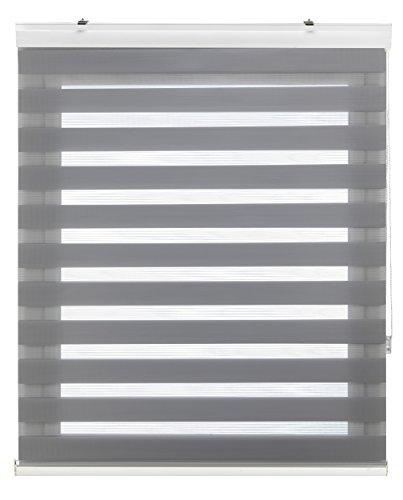 Blindecor Vela - Estor enrollable de doble capa, Noche y Día, Gris Plata, 140 x 180 cm, ancho x largo