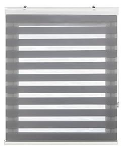 Blindecor 150130360 Vela Noche y Día Estor Enrollable de Doble Capa, Poliéster, Gris Plata, 160 x 180