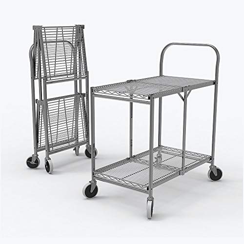 Luxor WSCC-2 Two-Shelf Collapsible Wire Utility Cart, Silver