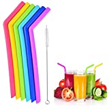 KaishuaiCannucce,Silicone Cannucce Riutilizzabile Colorato Cannuccia,jelly fruit,bubble tea,Cocktail set,bubble tea kit, Bevande Set di 6 Vari Cannucce colorate+1 Spazzole per