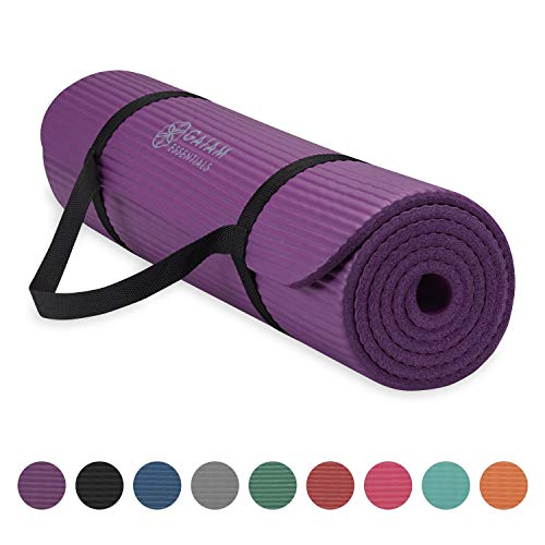 Gaiam Essentials Thick Yoga Mat Fitness & Exercise Mat with Easy-Cinch Yoga Mat Carrier Strap, Purple, 72'L x 24'W x 2/5 Inch Thick
