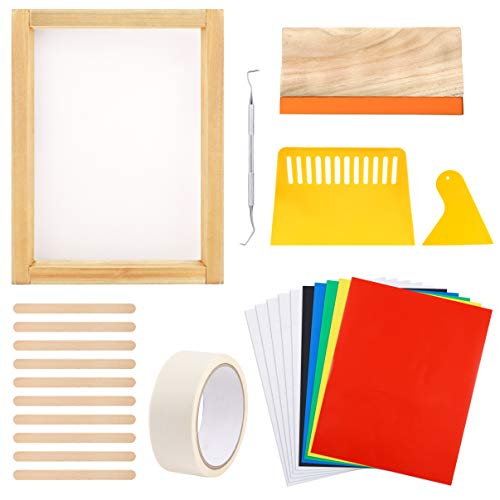 Caydo 26 Pieces Vinyl Screen Printing kit, Include 10 x 14 Inch Wood Silk Screen Printing Frame, Vinyl Sheets, Transfer Tape Sheets, Screen Printing Squeegees, and Mask Tape