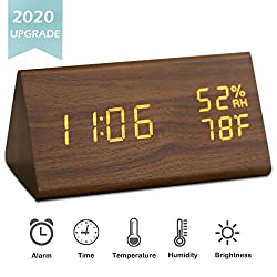 JCHORNOR Wood Digital Alarm Clock,Led Wooden Digital Desk Clock,Time Date Temperature Warm Brightness Humidity Clock for Bedroom/Office/Kid Room-Brown2
