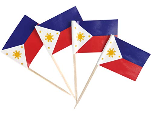 JBCD 200 Pcs Philippines Flag Toothpicks Filipino Flags Cupcake Toppers Decorations, Cocktail Toothpick Flag Cake Topper Picks Mini Small Flag Cupcake Pick Sticks