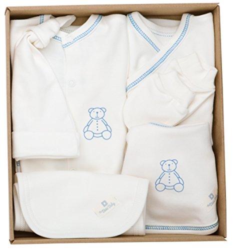 The Dida World Newborn - Conjunto recién nacido de algodón orgánico, 6 piezas, talla 0 meses, oso estampado azul