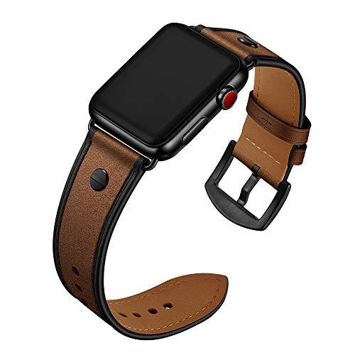 Aottom Compatible para Correa Apple Watch 44 mm Cuero, Correa Apple Watch Series 5 Series 4 44mm de Piel Deportiva Banda Reloj iWatch 42mm Pulseras de Repuesto Hombre Correa para iWatch 42mm/44mm