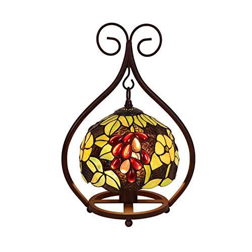 Tiffany Lámpara De Mesa Dormitorio Lámpara De Noche Flores De La Lámpara De Escritorio para Niños para La Sala De Estar Estudio De La Oficina, Lápula De Cristal Colorido A Mano