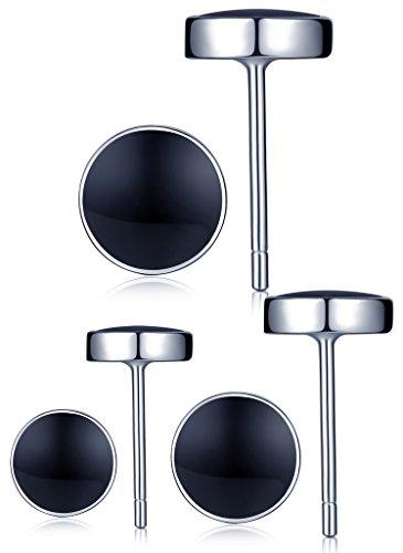 Unendlich U 925 Sterling Silber Schwarz Epoxy 5-7mm Runde Ohrstecker Gestüt Stecker Ohrringe Set Ohrschmuck für Damen Mädchen, 3 Paare
