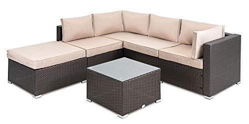 diVolio Polyrattan Loungegarnitur Imperia - Lounge Set für Garten und Terrasse mit Eck-Sofa & Tisch - Gartenmöbel-Set in Rattan-Optik, inkl Zwei Fleecedecken und Wetterschutzplane (Braun)