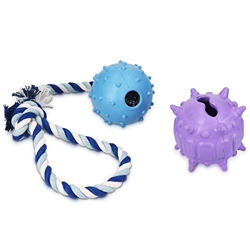 Navaris Ball Kauspielzeug für Hunde - 1x Snack Hundeball 1x Ball Seilspielzeug - Leckerli Hundespielzeugset aus Naturkautschuk - auch für Welpen