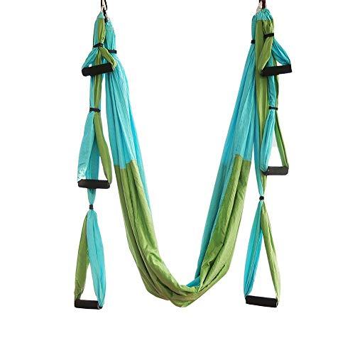 WEVB Conjunto de hamaca aérea de yoga antigravedad con cinturón de extensión y bolsa de transporte Flying Swing Home Gym Cinturón colgante (verde)