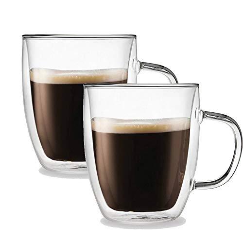 Xhftop Kaffeebecher, doppelwandig, mit Griff, Teetassen aus Glas, 350 ml, transparent, 2 Stück