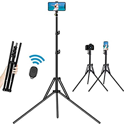 Selfie Stick Tripod, 78 inch Extendable Camera Phone Tripod with Bluetooth Remote and Cell Phone Holder Ultra Tall Reverse Folding Design Aluminium Alloy for iPhone Android Phone DSLR Sports Camera by Dayleer Tech