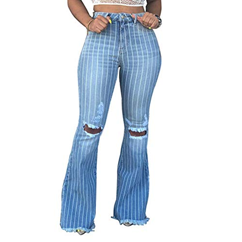 Kabxryaclo Womens Bell Bottom Jeans Plus Size Fringe Solid High Waisted Butt-Lifting Washed Denim Flared Pants