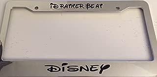 I'd Rather Be At Disney Script Font Style - Chrome Automotive License Plate Frame