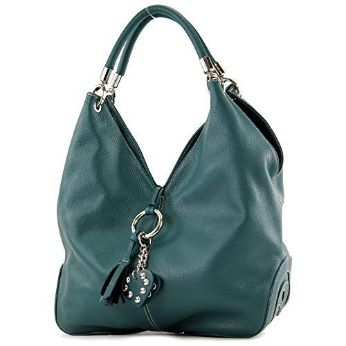 modamoda de - 330 - ital Handtasche Shopper Schultertasche Leder, Farbe:Petrol