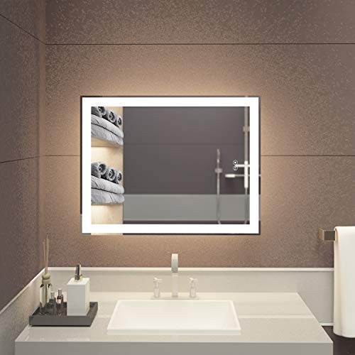 illucid Lighted Bathroom Mirror 28x22 inch Warm Light/Daylight Optional Backlit Dimming & -