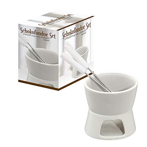 Cepewa 1 x Keramik Schokofondue Set Fondue-Set Schokolandenfondue weiß inkl. 2 Edelstahlgabeln (1 x Schokofondue-Set)