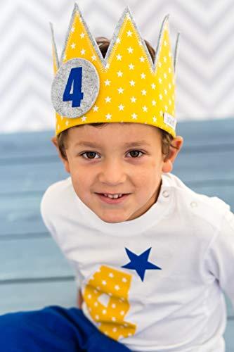 Corona cumpleaños Der Wollprinz, corona para bebe y niños de fieltro y tela en amarillo/dorado con estrellas blancas y los números 1,2,3, 4
