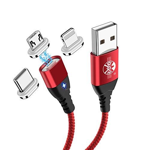 UGI Câble de Charge magnétique Câble de Charge Rapide 3 en 1 3A Charge Rapide et synchronisation des données (1M + 2M,2 pièces) pour Android Micro USB,Type C/USB C,Phone,Smartphone,Tablette appareils