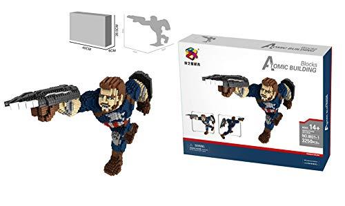 nacai 3D-Anime-Helden Charakter Modell kleine Partikel Puzzle zusammengesetzt Bausteine Spielzeug Entwicklung von Puzzle-Spiel Gehirn,Captain America