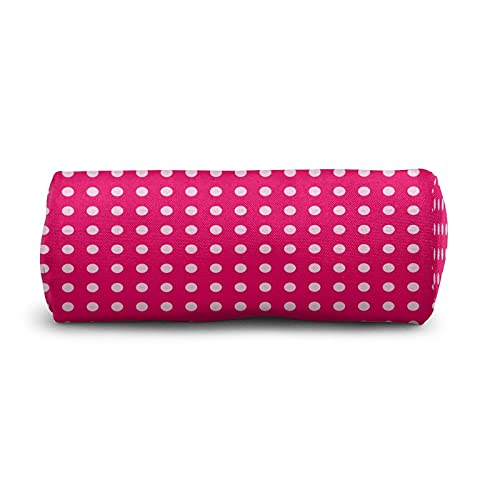 COSNUG Estuche geométrico de lunares blanco rosa para niñas bolsa de papelería escolar oficina titulares de lápiz cosméticos maquillaje bolsa