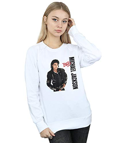 Absolute Cult Michael Jackson Damen Bad Pose Sweatshirt Weiß Small