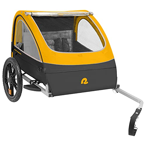Retrospec Rover Kids Bicycle Trailer - Single & Double Passenger Children's Foldable/Collapsible Tow Behind Bike Trailer with 16' Wheels, Safety Reflectors & Rear Storage Compartment - Sun