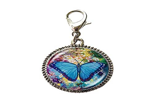 Pulsera con colgante de mariposa misteriosa mariposa de cristal con cierre de langosta con cierre de cremallera