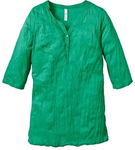 SHEEGO Damen Bluse Longbluse Tunika crash grün (48)