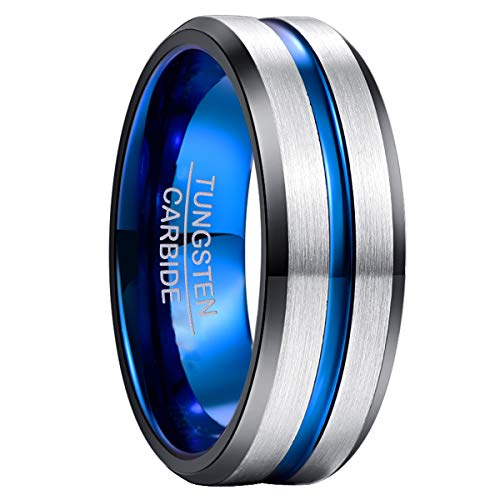 NUNCAD Anillo Hombre Mujer Unisexo Tungsteno con Moda Grabado I Love You JoyasPunk Clásico Plata/Azul/Nergo 8mm Tamaño <19>