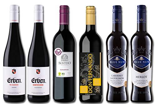 Europa Rotweinreise Probierpaket (6 x 0.75 l) Weinprobierpaket mit Rotweinen aus Deutschland, Italien, Frankreich und Spanien Wein-Set